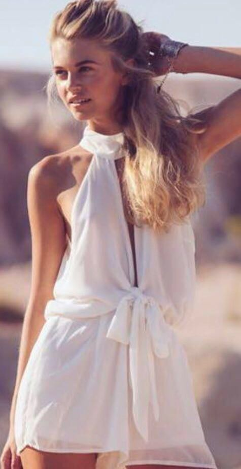 American Threads White Bow Tie Romper