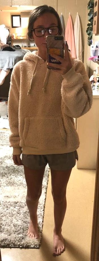American Eagle Outfitters Cream Sherpa Hoodie