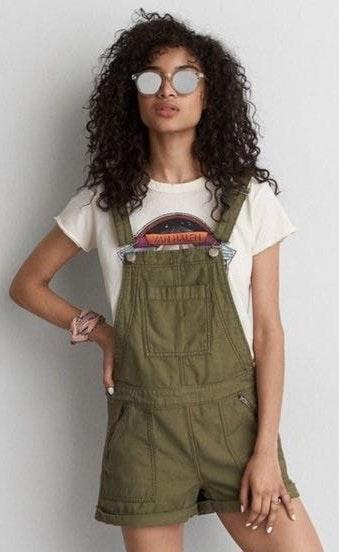 American Eagle Outfitters Green Shortfall Overalls
