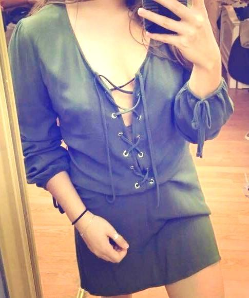 6069a3403a7f Kendall   Kylie Green Lace Up Dress