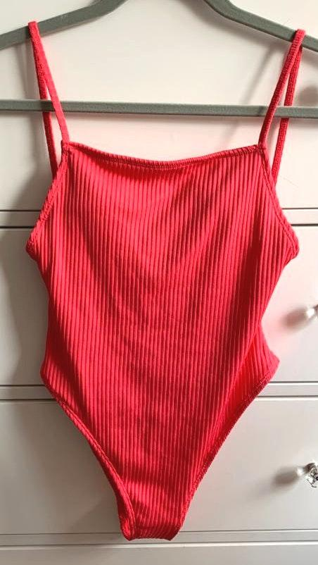 Forever 21 NEW Flamingo Pink Ribbed One Piece Bathing Suit