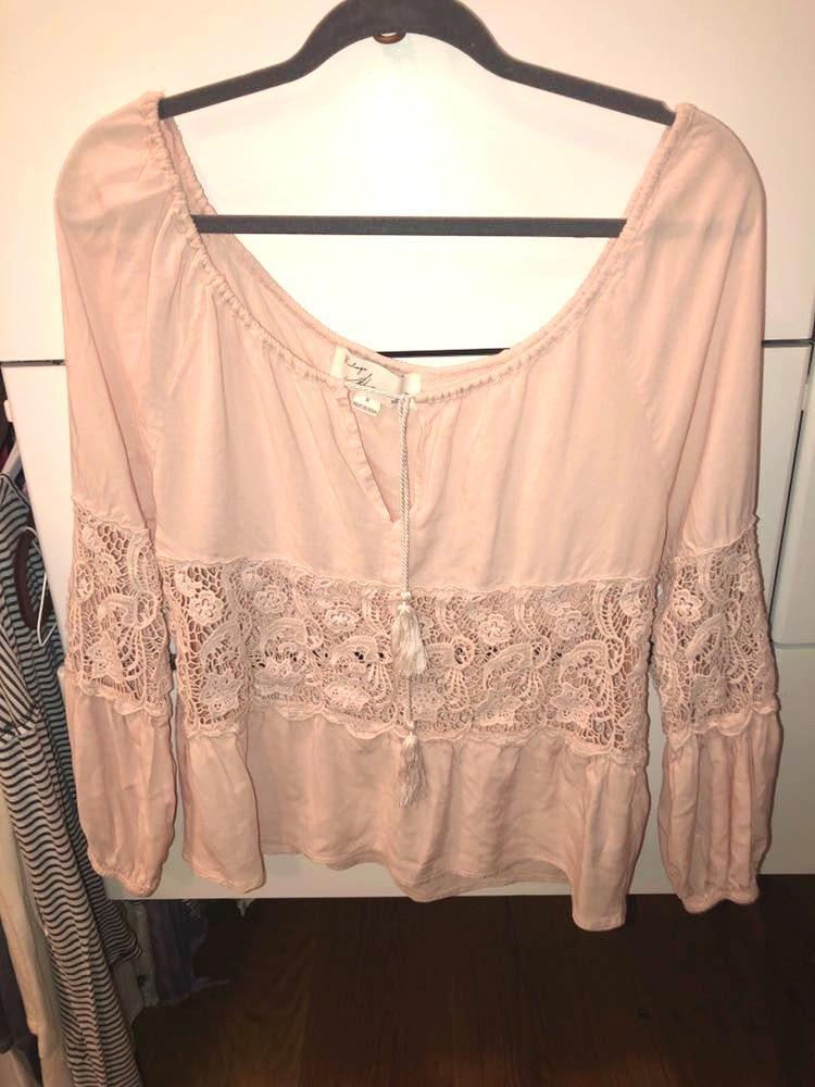 73ad1dd16128fc Vintage Havana light pink off the shoulder top