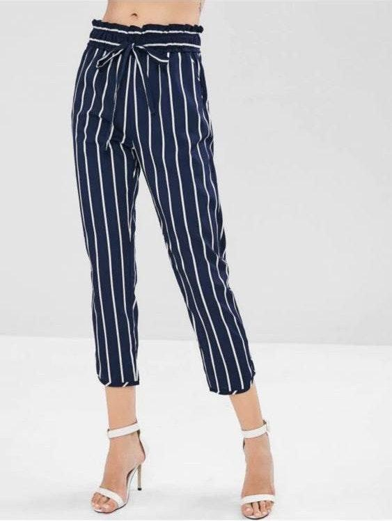Zaful Pockets Pull On Striped Casual Pants
