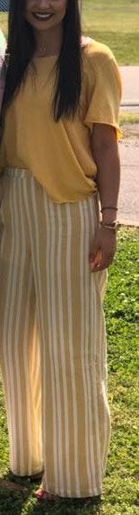 She & Sky Yellow & White Striped Pants