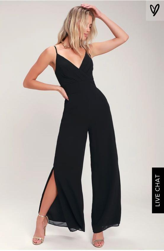 Lulus Black V Neck Open Leg Jumpsuit