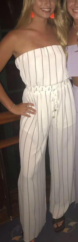 Blu Spero Navy And White Striped Jumpsuit