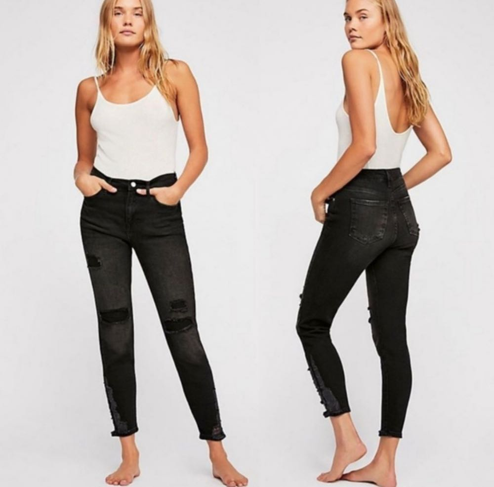 Free People Black Distressed Skinny Jeans