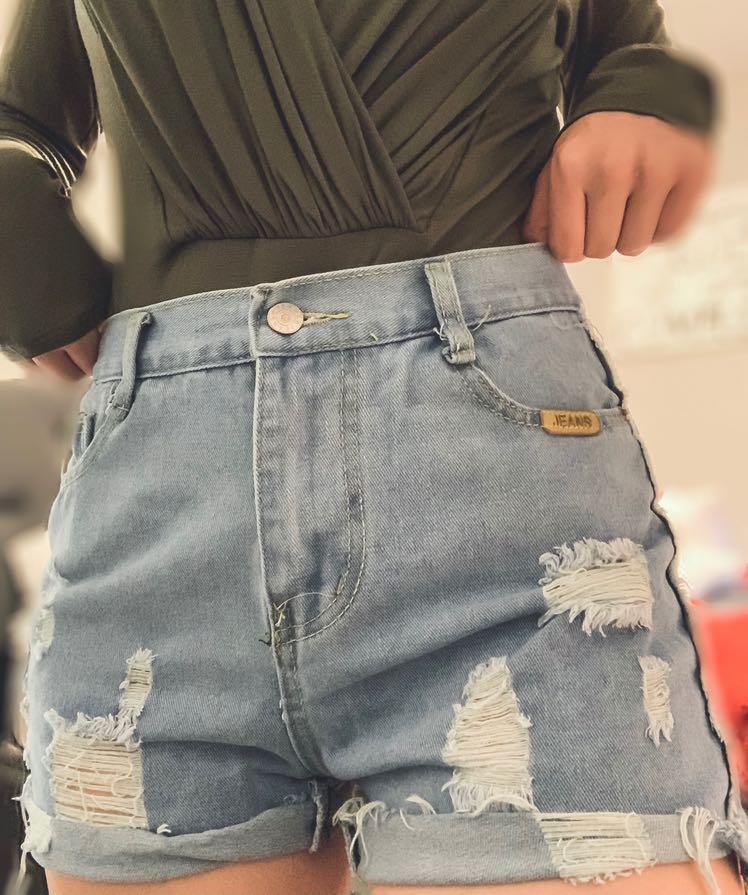 SheIn Distressed Jean Shorts
