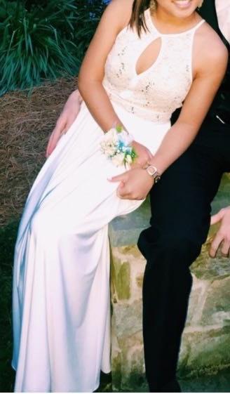 Morgan & Co Gold & White Long Dress