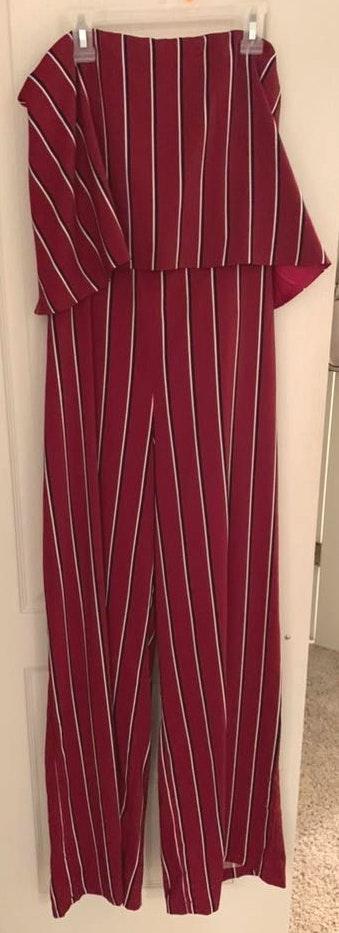 Impeccable Pig Maroon Striped Jumpsuit