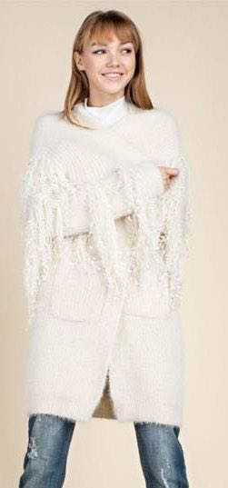 Fringe Statement Ivory Cardigan