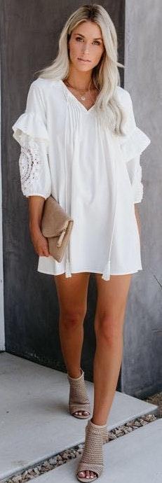 VICI White Crochet Dress/Tunic