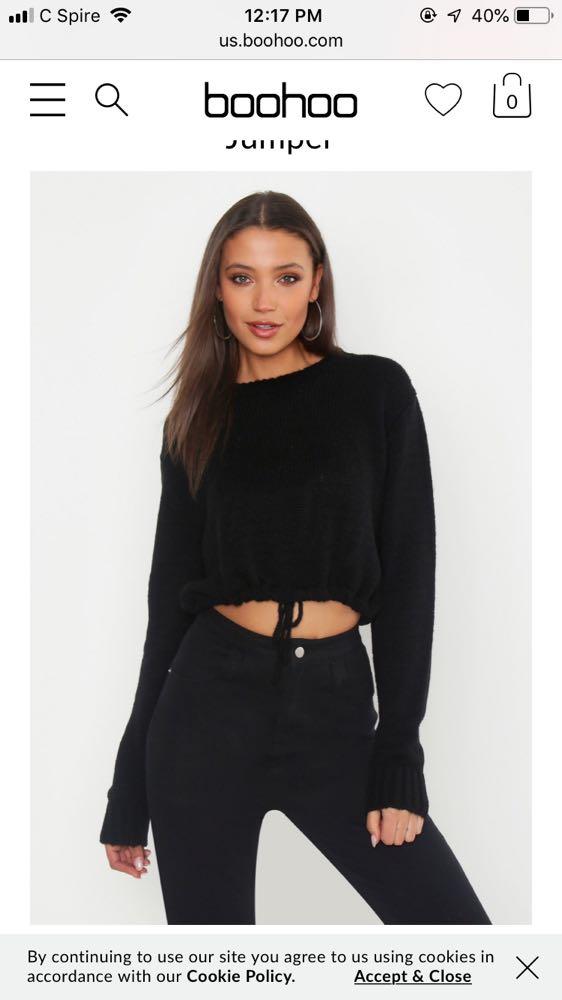 Boohoo Black Cropped Sweater