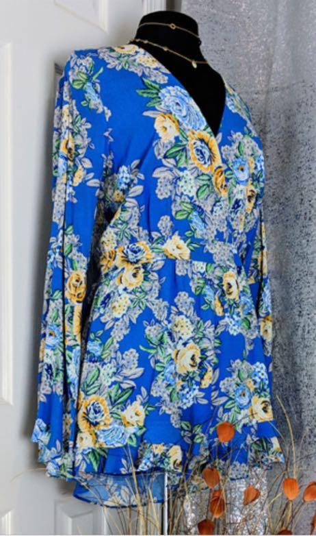 e98f70fa9efd1 Lord and Taylor Blue Floral Romper Design Lab | Curtsy