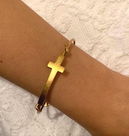 ALEX AND ANI Gold Cross Bracelet