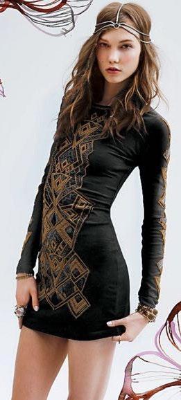 Free People Aztec Princess Bodycon Dress