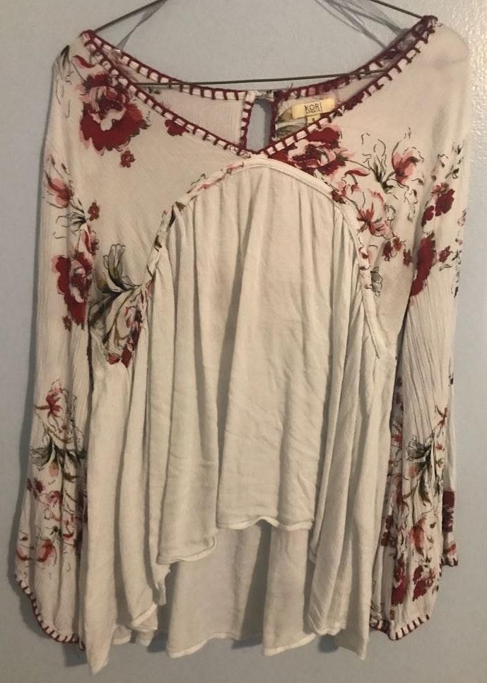 Kori White And Maroon Floral Blouse
