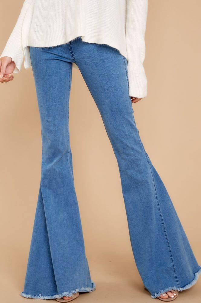 Skylar + Madison Elastic Waist Flare Bell Bottom Jeans