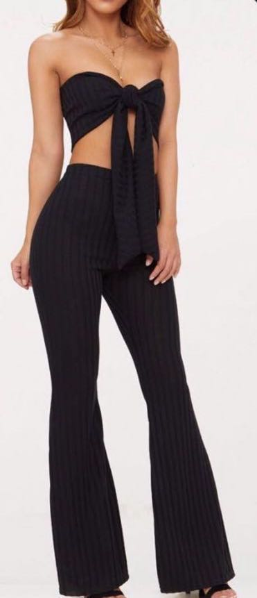 Pretty Little Thing Petite Black Flares