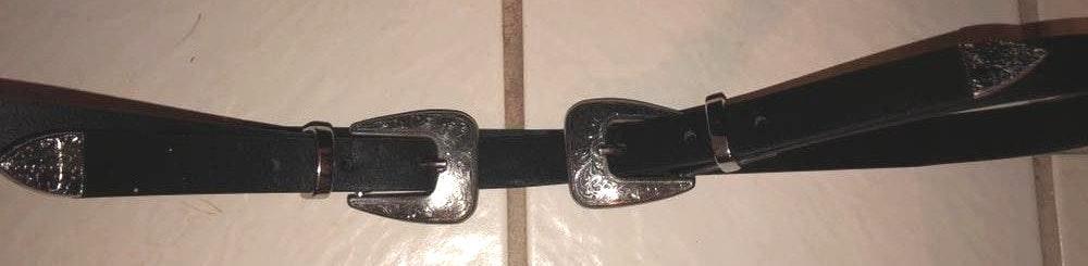 Silver, Western Double Buckle Black Belt