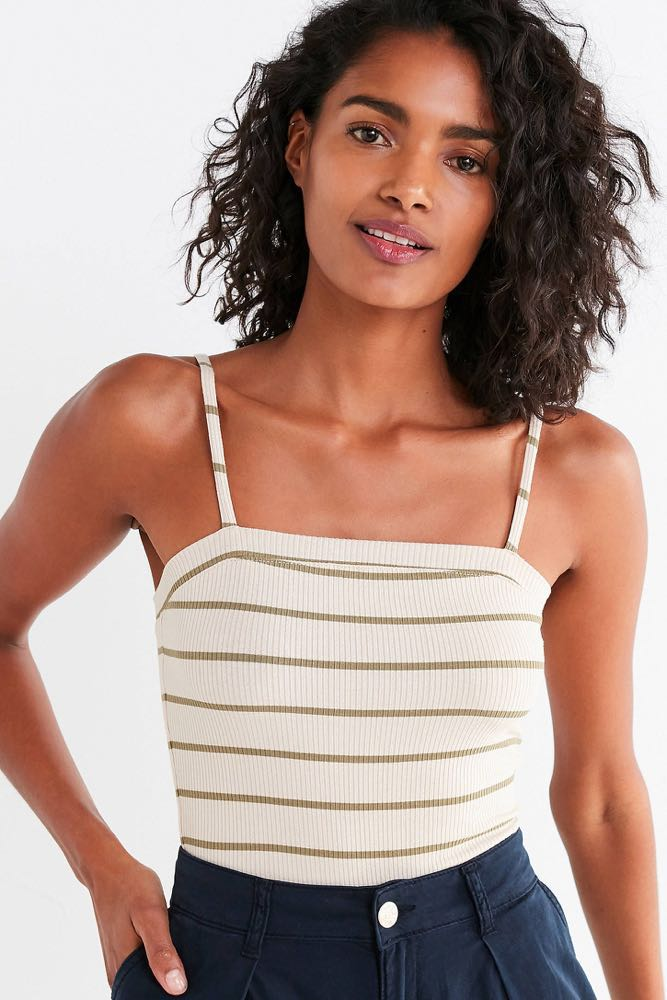 Urban Outfitters Green And Beige Striped Crop Top