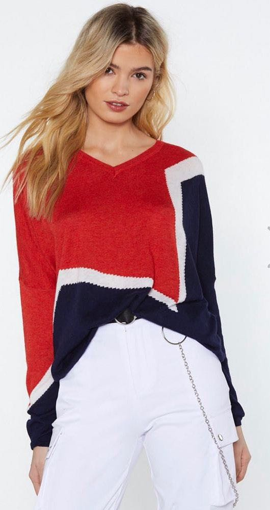Nasty Gal Round the Colorblock Sweater