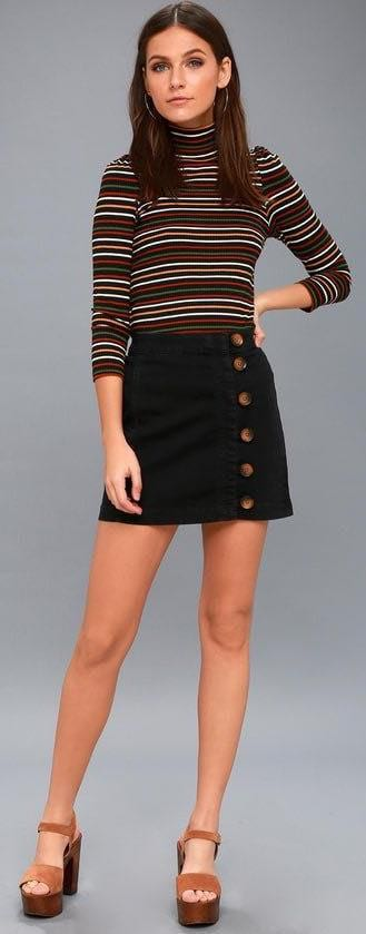 Free People LITTLE DAISIES BLACK BUTTON-FRONT MINI SKIRT