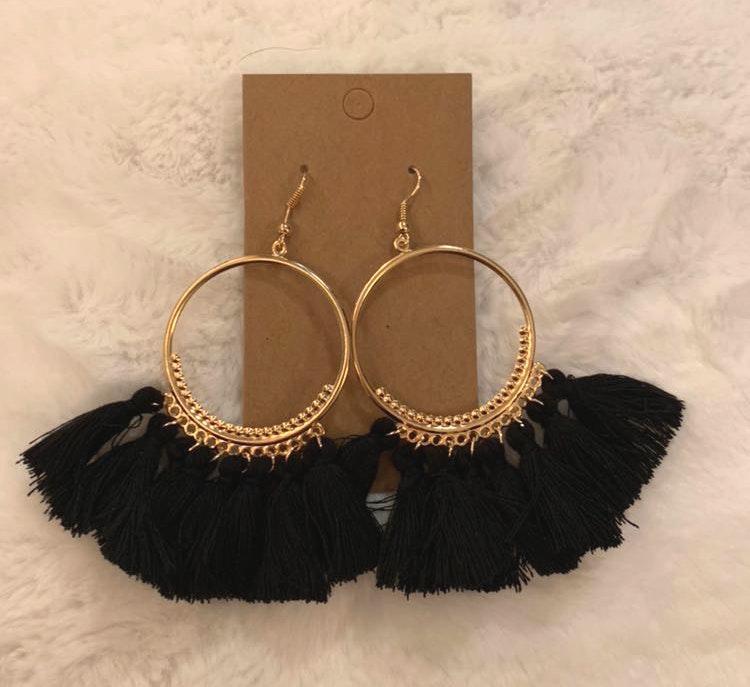 Black Tassel Boho Earrings