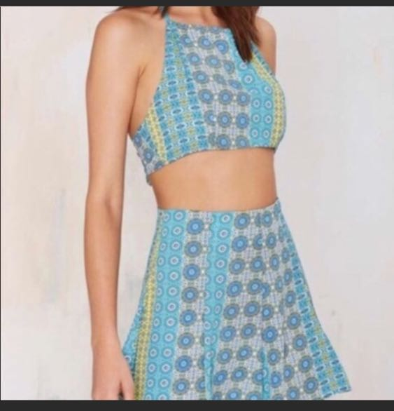 Nasty Gal blue two piece short set