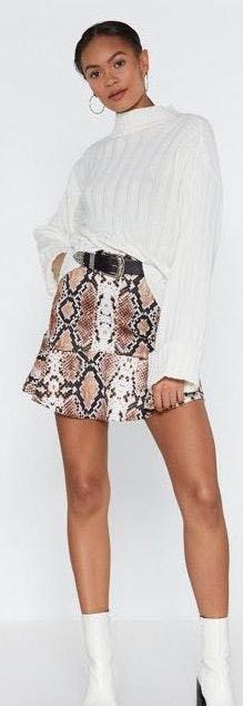 Nasty Gal Snake Print Ruffle Skirt