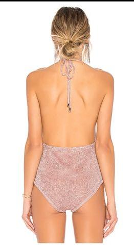 Revolve Metallic knit Bodysuit