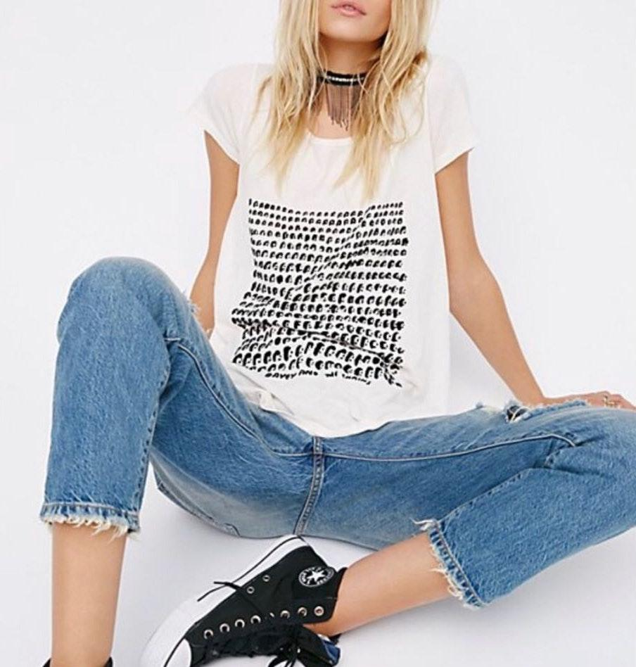 Free People Davey and the Chains Graphic Tee with open back