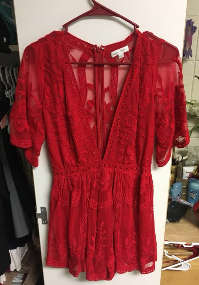 Maude Red Lace Romper
