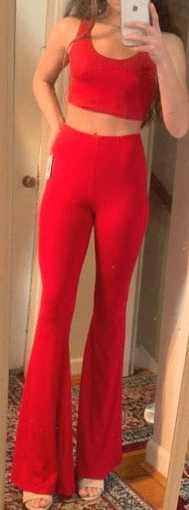 Forever 21 Red Flare Pant/ Crop Top Set