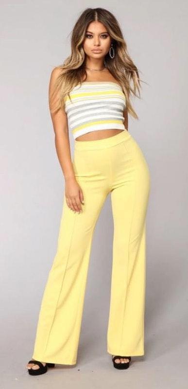 Fashion Nova Yellow Dress Pant