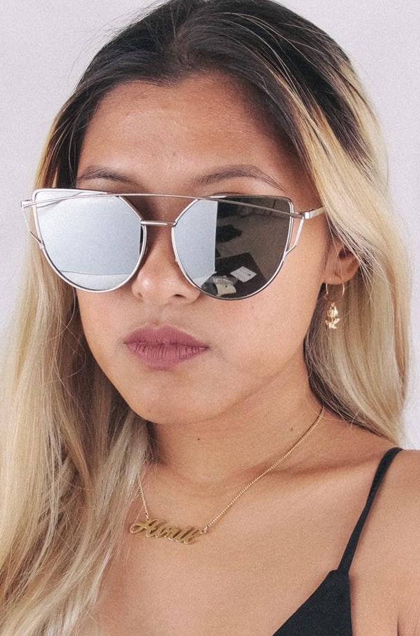 Silver Double Bar Reflective Sunglasses