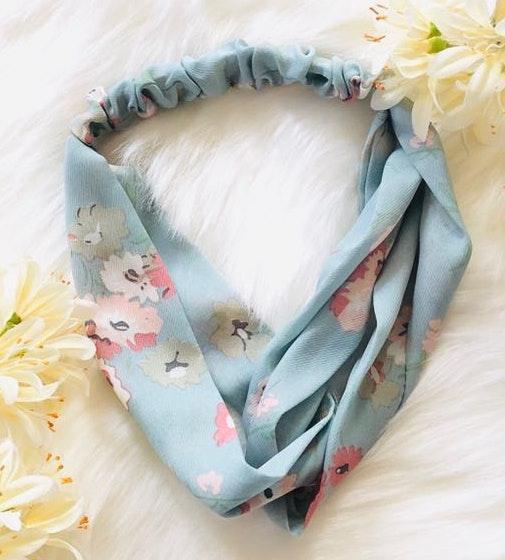 Chiffon floral boho hippie blue headband