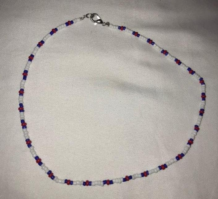 Red Blue And White  Handmade Beaded Necklace