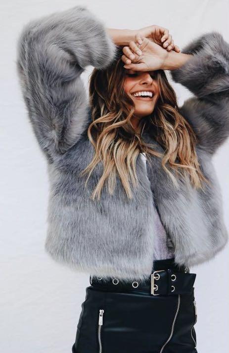 Verge Girl Grey Faux Fur Jacket