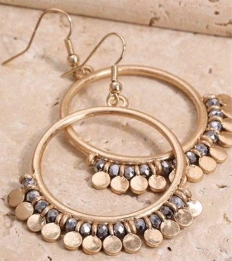 Open Circle Bead Accent Hematite Earrings
