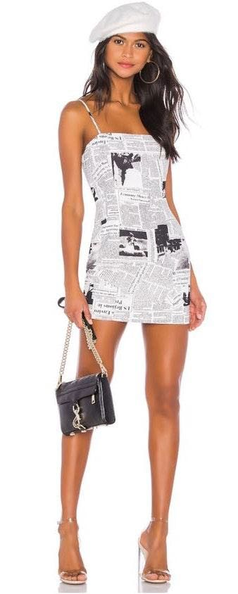 superdown Newspaper Printed Dress