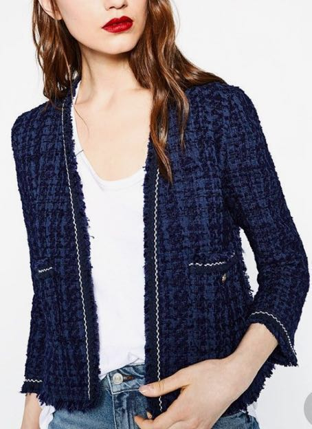 ZARA Blue Tweed Jacket