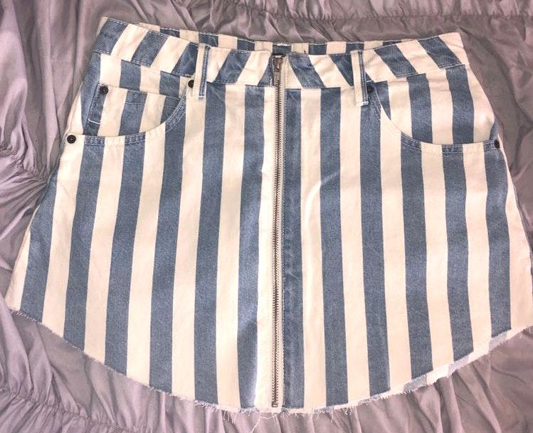 Berksha Striped Denim Skirt