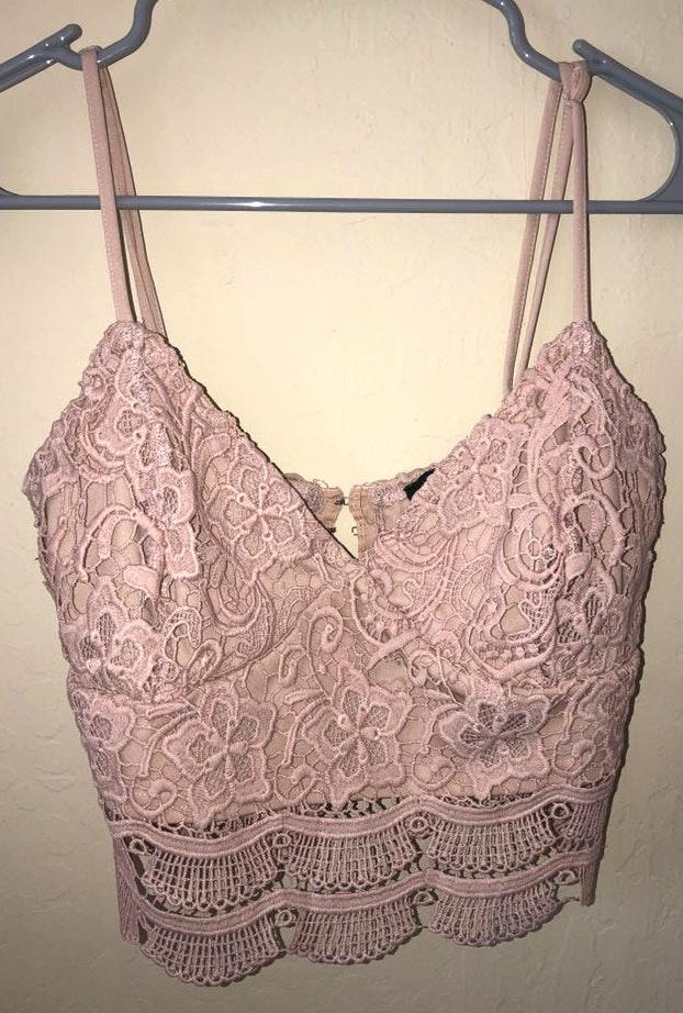 Kendall & Kylie Pink Lace Crop Top