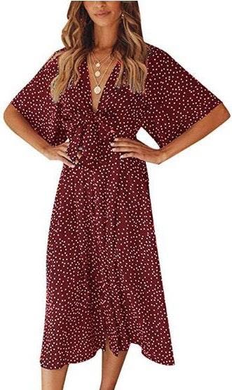 Amazon Red Polka Dot Gingham Wrap Dress