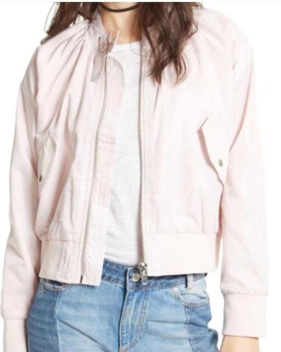 Free People Light Pink Bomber Jacket