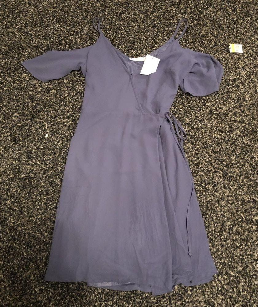 Lush Clothing Brand New Dusty Blue Wrap Dress