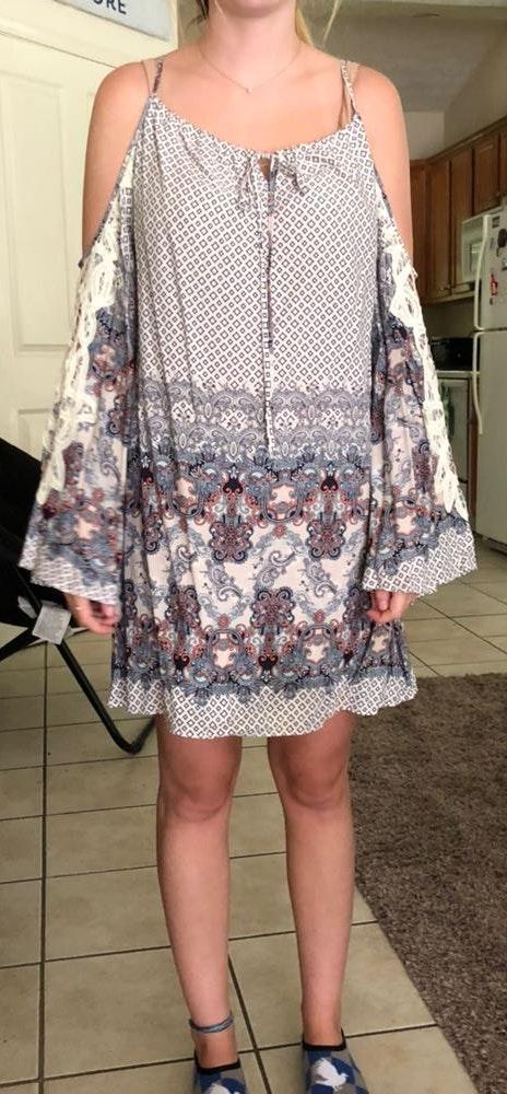 Apricot Lane Cold-shoulder Bell Sleeve Dress