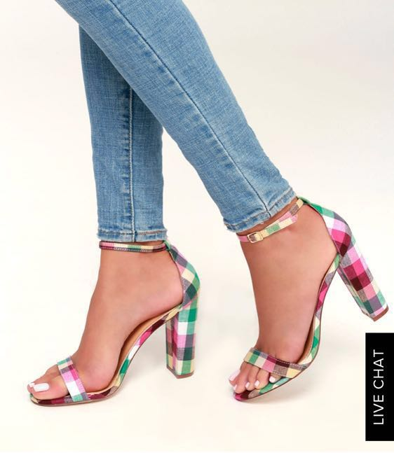 Lulus Lulu's Plaid Block Heels