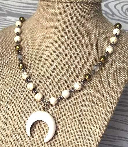 Cream And Gold Crescent Necklace